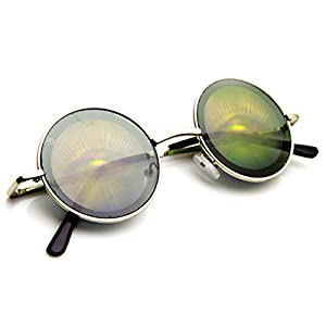 zeroUV - Hologram Holographic Illusion Poker Face Metal Round Sunglasses