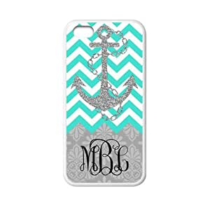 Zig Zag Cyan Chevron Navy Anchor Gray Retro Pattern Personalized Custom Phone Case Zig Zag Best Cover Case For Iphone 5C by ruishername