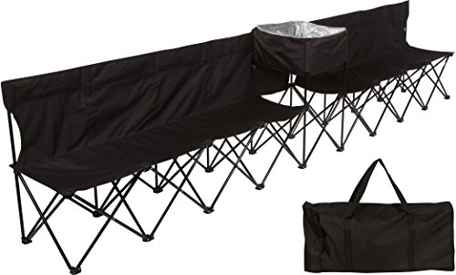 (Trademark Innovations 13.5' Portable 8-Seater Folding Team Sports Sideline Bench with Attached Cooler & Full Back (Black))