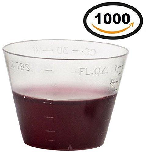 1000 Vakly Disposable Graduated Plastic Medicine Cups, 1 OZ