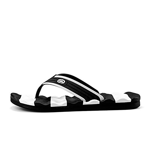 Color amp;Baby Massage Flip Sandals 7 Beach Men's Resistant White Sunny Flop Size 5MUS Slipper Thong Wear Leisure Black w7d4Xxq