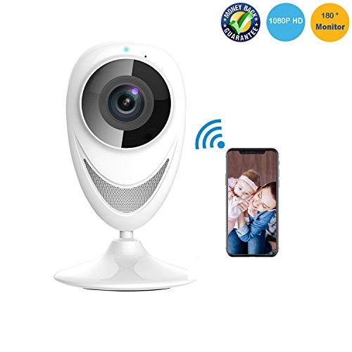 Cámara de Seguridad 1080P HD Cámara de Vigilancia Espía cámara IP WIFI Monitor de Bebé Inalámbrico Panorámico 180...