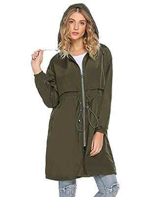 Mofavor Women's Casual Long Lightweight Hoodie Windbreaker Jacket Active Outdoor Coat