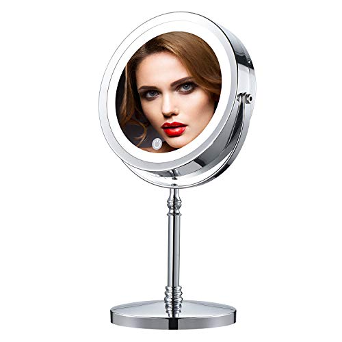 IBRIGHTSO Professional Lighted Makeup Mirror 7 Inches 2-Sided 1X/7X Magnifying Vanity Mirror with Light Touch Switch…