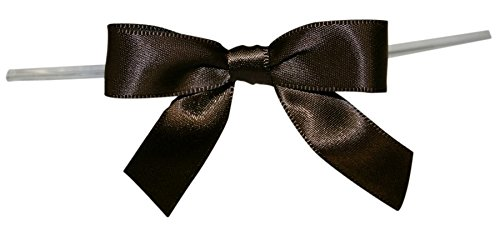 Reliant Ribbon Satin Twist Tie Bows - Small Ribbon, 5/8 Inch X 100 Pieces, Chocolate Brown