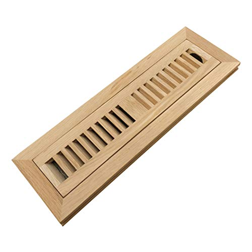 Homewell White Oak Wood Floor Register Vent Cover, Flush Mount Vent with Damper, 2X12 Inch, - Inch 12 Floor Wood Register Vent