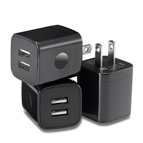 LOOGGO USB Wall Charger, 3-Pack Dual USB 2.1AMP Wall Charger Plug Power Adapter Charging Block Cube Compatible with iPhone X 8 7 6 Plus 5S, iPad, Samsung Galaxy S8/S7/S6 Edge, LG, Android (Black) by LOOGGO