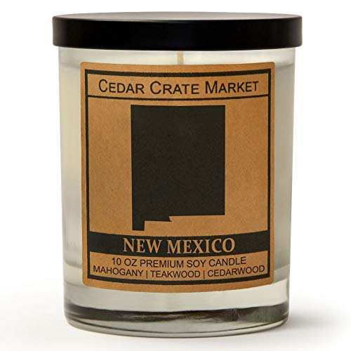 New Mexico Kraft Label Scented Soy Candle, Mahogany, Teakwood, Cedarwood, 10 Oz. Glass Jar Candle, Made in The USA, Decorative Candles, Going Away Gifts for Friends, State Candles