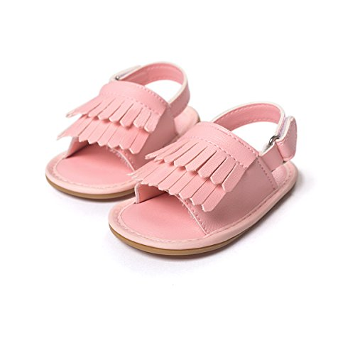 etrack-online Baby Girl Boy sintética piel de goma antideslizante flequillo verano sandalias rosa rosa Talla:12-18months rosa