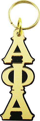 Phi Key Ring (Alpha Phi Alpha Large Letter Mirror Keychain [Black/Gold - 3.5