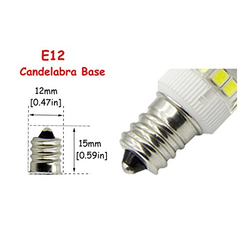E12 LED Candelabra Bulb, 4W (40W Incandescent Bulb Equivalent), Dimmable Daylight White 6000K Ceiling Fan Bulb(5-Pack). (Daylight White) by WangHonKon (Image #2)