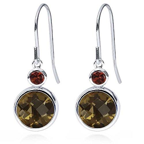 Red Quartz Earrings - 3.84 Ct Round Checkerboard Brown Smoky Quartz Red Garnet 925 Sterling Silver Earrings