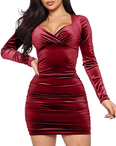 LNSK Womens Velvet Long Sleeve Bodycon Backless Lace Up V Neck Ruched Club Party Mini Dress