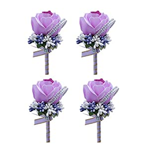 MOJUN Groom Groomsman Rose Boutonniere Buttonholes Corsage Rose Flowers Brooch for Wedding Prom Party, Pack of 4, Lavender 11