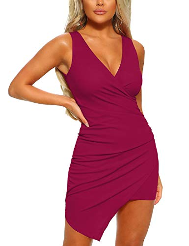 Mizoci Women's Casual Sleeveless Ruched Cocktail Party Dresses Bodycon Mini Sexy Club Dress,XX-Large,Wine Red