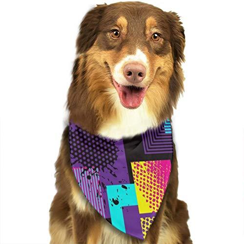 Pet Scarf Retro 80s Style. Pop Art. Fashion Style Triangle Bibs Bandanas Kerchief Set Pets Costume Accessories for Small Medium Large Dogs Cats -