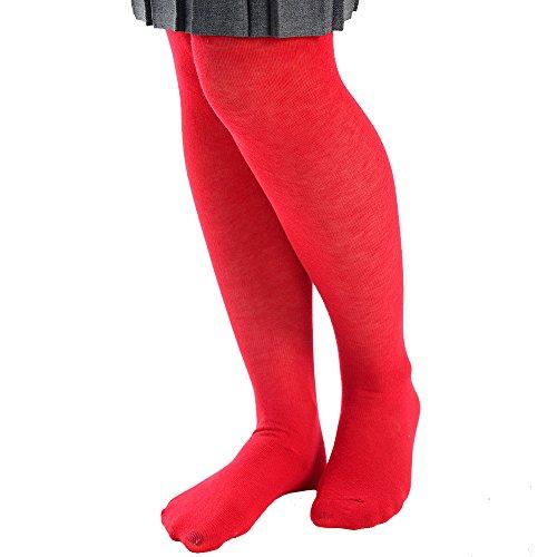 Chaussé Pour Riches Chouettes Rouge En Coton D'école Unis Bébé Collants Filles 5qft1nv