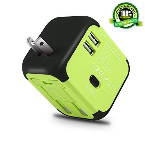 Maxracy International Travel Power Adapter with 2.4A Dual USB Charger and Built-in Spare Fuse Universal AC Wall Outlet Plugs All-in-One for UK, US, AU, Europe & Asia (Green)