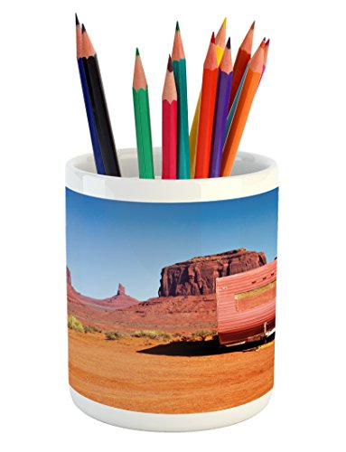 Cheap  Ambesonne Primitive Country Pencil Pen Holder by, Abandoned Caravan Design Monument Valley..