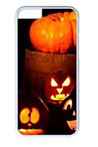 Lighted Halloween Pumpkins Polycarbonate Hard Case Cover for iphone 6 plus 5.5 inch White