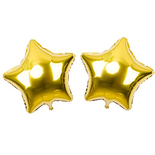 SOMADE 36 inch Star Mylar Balloons,Star Shape Foil Balloons,Five Star Helium Balloons,Pentagram Balloon,for Birthday Wedding Party Decoration,5pcs,Gold
