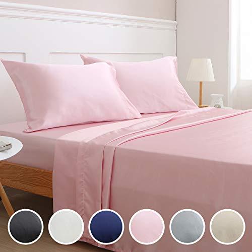 Vonty Satin Sheets Twin Pink Silky Satin Sheet Set, Deep Pocket Fitted Sheet + Flat Sheet + Pillowcase Bedding Set 3pcs