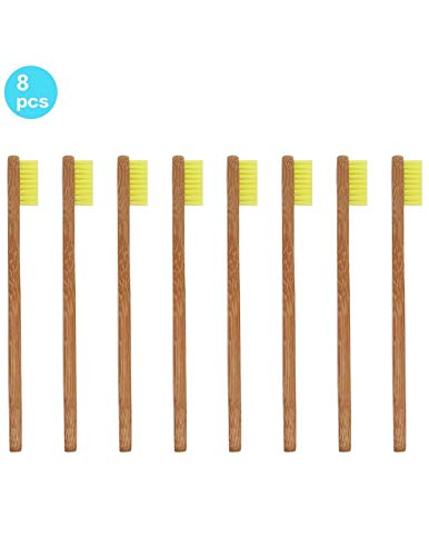 Bamboo Toothbrush for Kids Eco-Friendly biodegradable Bamboo Handles and BPA-Free Nylon Bristles For Natural Dental SoniFox 8Pcs Yellow Color by SoniFox