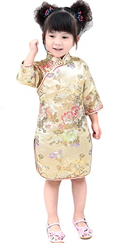 AvaCostume Girls Traditional Chinese Qipao Dress Cheongsam Costume, Goldpeony, 5-6 (Chinese Chinese Dresses Dress)