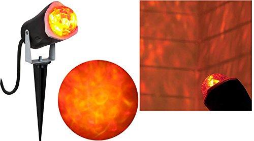 Gemmy Lightshow Fire & Ice Kaleidoscope Projection Red & Yellow Spotlight for Halloween, Parties! (Halloween Decorations Garage Door)