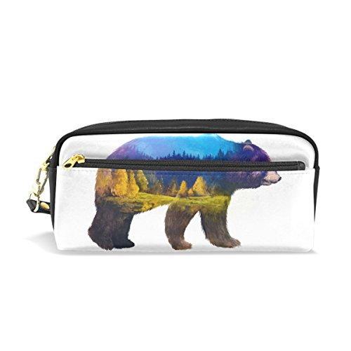 DemonCo Grizzly Bear Pencil Case Pouch Cover Box, Retro M...