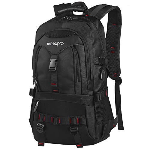 EletecPro Unisex 17.3 Inch Laptop Backpack with USB Charging Port,Durable Travel Backpack with Contains Multi-Function Pockets for Women & Men (Black)