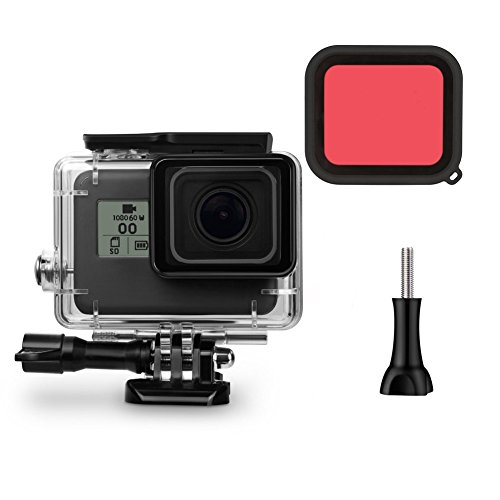 Makit Waterproof Housing 45M Underwater Dive Case Cover For GoPro Hero 6/5 GoPro HERO (2018) (With Red Filter As A Gift) by Makit