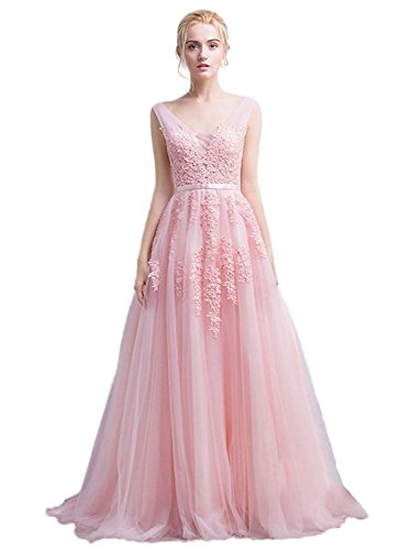 Elegant Long Sleeveless V-Neck Lace&Tulle Bridesmaid Prom Dress (Pink,6)