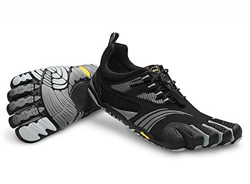 Vibram FiveFingers Men's KMD Sport LS Barefoot Shoes Black / Silver / Grey 42 & Pemium Toesock Bundle