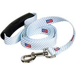 """Yellow Dog Design Dawg Blue with American Flags Dog Leash with Comfort Grip Handle-Small-5/8 5' x 60"""" Made in The USA"""