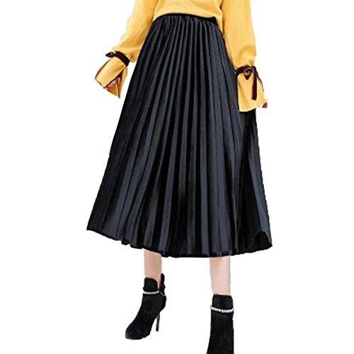 Tifus Dress Women's Vintage Luster Elastic Waist Velvet A-line Pleated Midi Skirt, Black, One Size