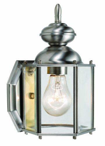 Design House 514877 Augusta 1 Light Indoor/Outdoor Wall Light, Satin Nickel - Downlight Outdoor Wall