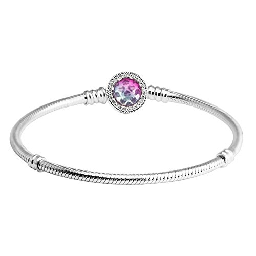 ❤925 Sterling Silver❤ Snake Chain Bracelet Clear CZ Radiant Gradient Colour Core Crystal Round Locket Bangle Bracelets Fit Pandora Jewelry as Birthday Gifts for Girlfriend Wife Mom by CKK