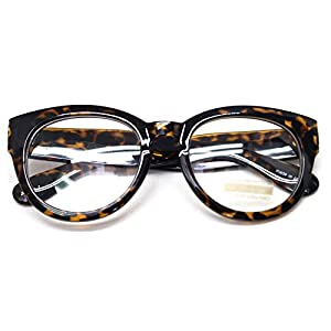 Classic Round Horn Rimmed Eye Glasses Clear Lens Oval Non Prescription Frame (Leopard 6041, Clear)