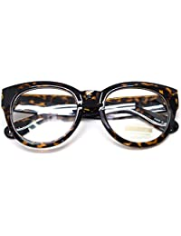 Classic Round Horn Rimmed Eye Glasses Clear Lens Oval Non...