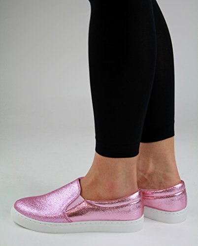 New Womens Flat Casual Sneakers Comfy Pumps Slip On Trainers Pink KqesXNcL