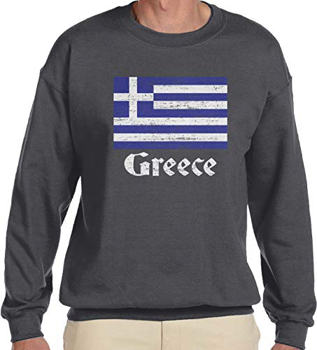 (Amdesco Men's Flag of Greece, Greek Flag Crewneck Sweatshirt, Charcoal Grey)