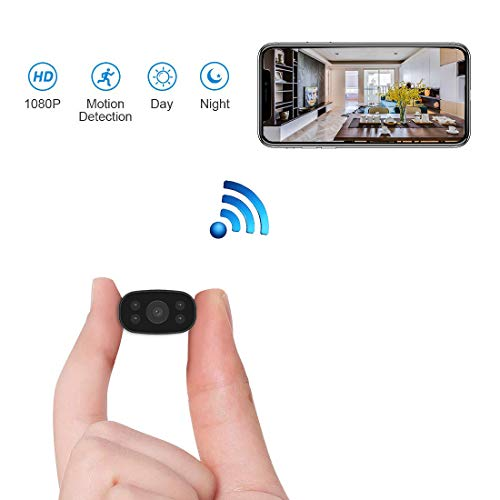 Hidden Security Cameras, HUOMU Mini spy cam 1080P HD Wireless WiFi Remote View Tiny Home Surveillance Cameras Indoor/Outdoor Video Recorder Smart Motion Detection(Night-Vision)