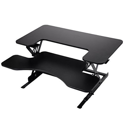 LAZYMOON Black Ergonomic 36'' Wide Preassembled Height Adjustable Stand Workstation Elevating Desk Riser w/ Removable Keyboard TraY by LAZYMOON