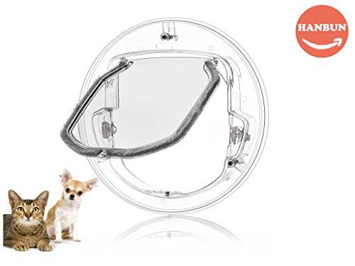 Pet Door for Cats, Small Dogs 4 Ways Lock, Round Clear Cat Flap with Door Liner Kit Best Fits for Screen Window/Sliding Glass Door window HP-003