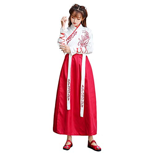 Ez-sofei Ancient Chinese Han Dynasty Traditional Hanfu Cosplay Costume for Couples (L, Female-White&Red(embroidery)) -