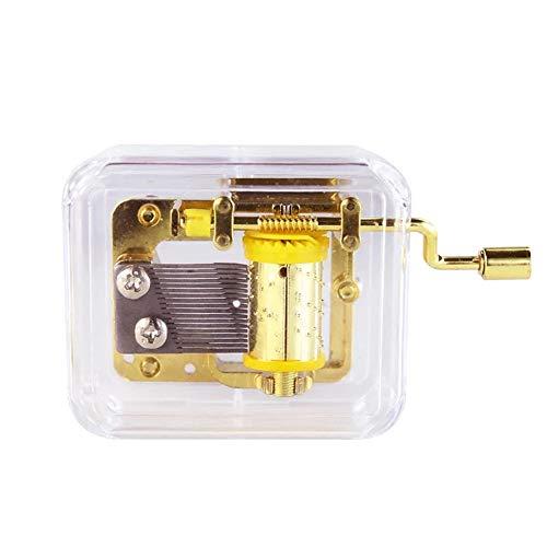 certainPL Mini Manual Movement Gurdy Music Box Acrylic Hand Crank Xmas Kids Gift Gold (Jingle Bells)