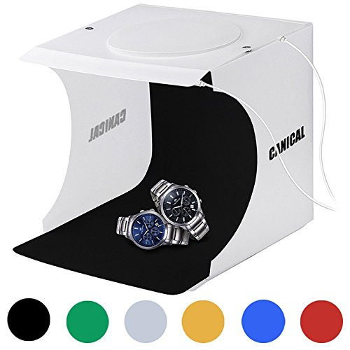 Portable Photo Studio Box for Jewellery and Small Items Photography Lighting Studio Box Booth Shooting Tent Kit with 2x20 LED Lights 6 Colors Backdrops by CANICAL