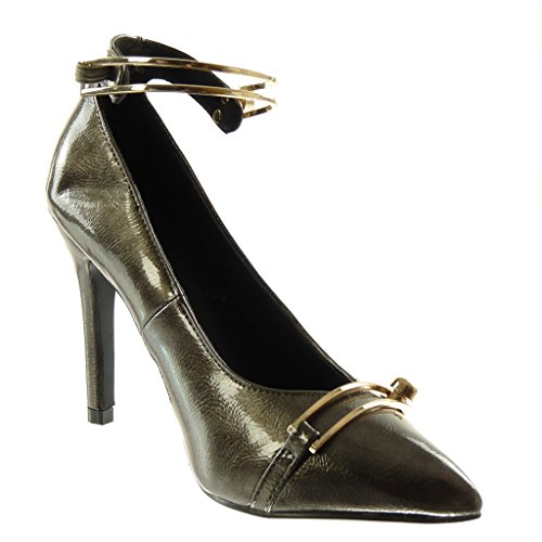 Angkorly Damen Schuhe Pumpe - Dekollete - Stiletto - Patent - genarbtem - Golden Stiletto High Heel 10 cm Grau