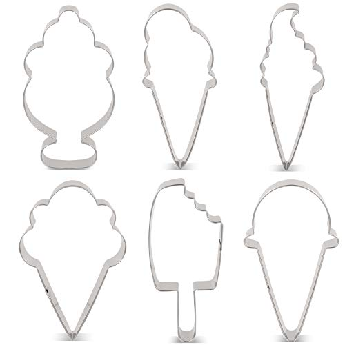 LILIAO Summer Ice Cream Cookie Cutter Set Sundae/Popsicle Biscuit and Fondant Cutters - 6 Piece - 3.6, 4.5, 4.2, 4, 4.3 and 3.7 inches - Stainless - Cookie Cream Ice Cutter